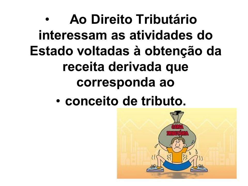 Ao Direito Tributário interessam as atividades do Estado voltadas à obtenção da receita derivada que corresponda ao