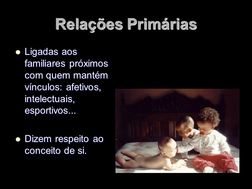 Relações PrimáriasLigadas aos familiares próximos com quem mantém vínculos: afetivos, intelectuais, esportivos...