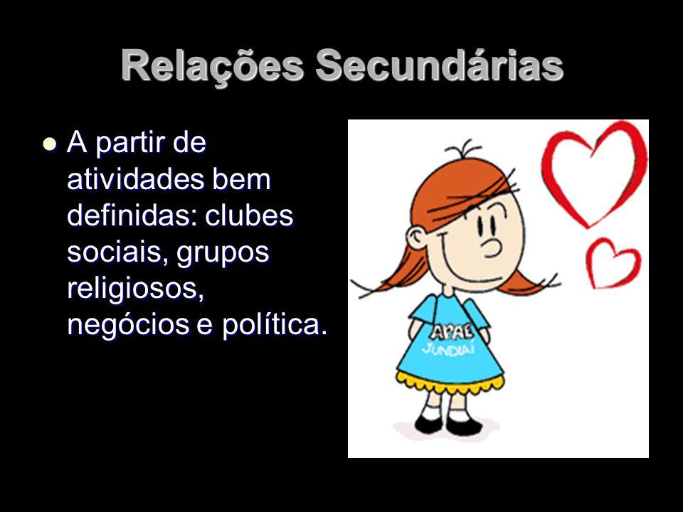 Relações Secundárias A partir de atividades bem definidas: clubes sociais, grupos religiosos, negócios e política.