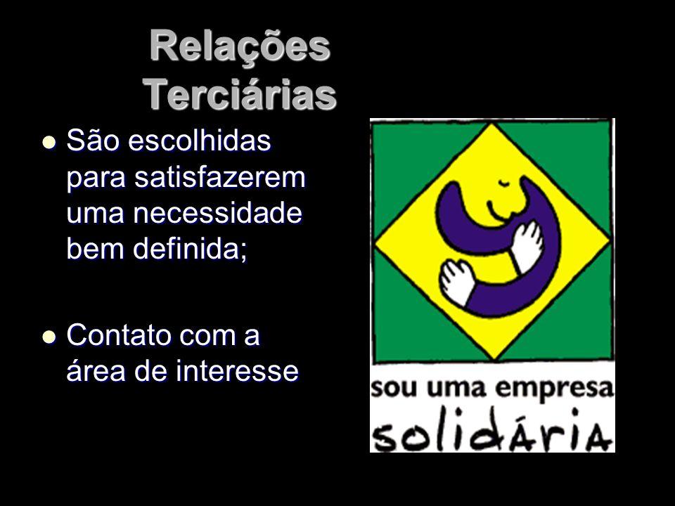 Relações TerciáriasSão escolhidas para satisfazerem uma necessidade bem definida; Contato com a área de interesse.