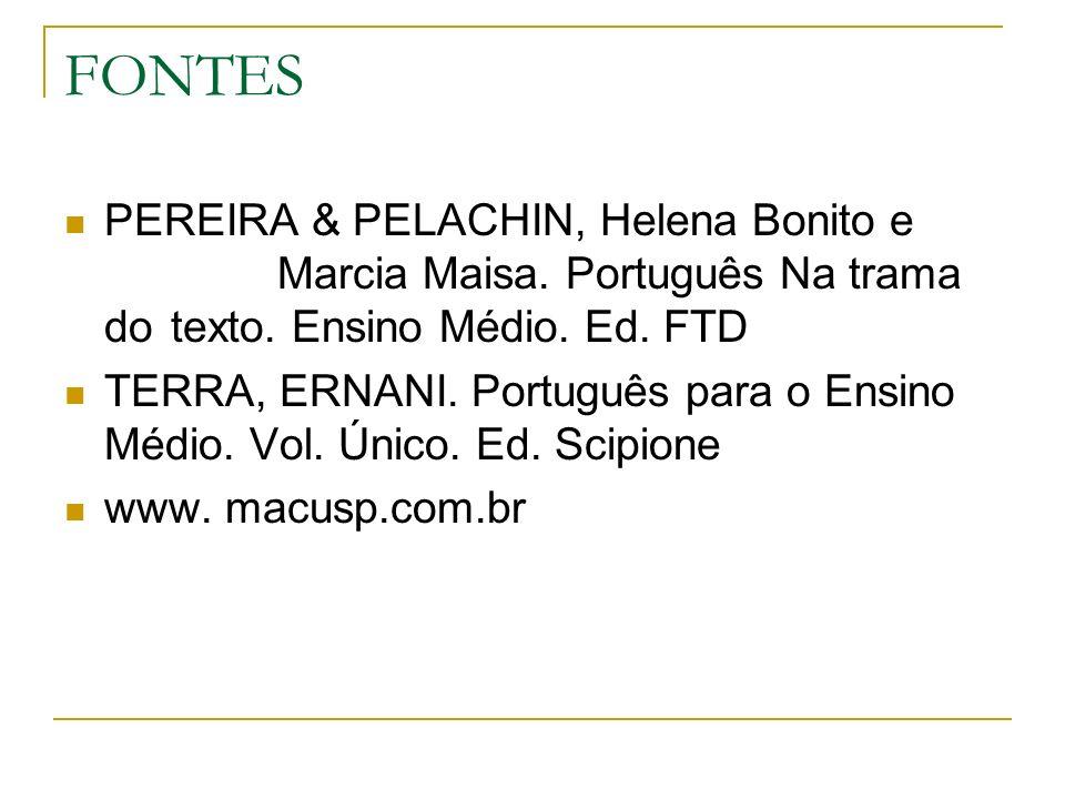 FONTES PEREIRA & PELACHIN, Helena Bonito e Marcia Maisa. Português Na trama do texto. Ensino Médio. Ed. FTD.