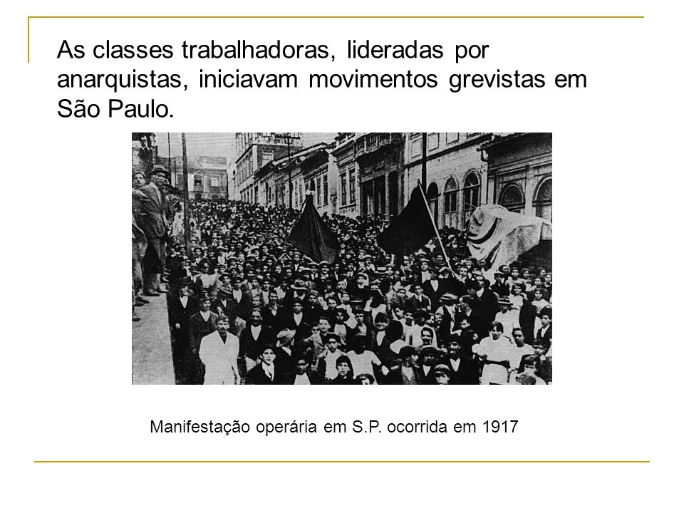 As classes trabalhadoras, lideradas por anarquistas, iniciavam movimentos grevistas em São Paulo.