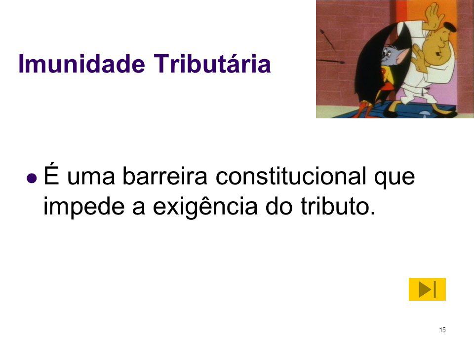 Imunidade Tributária É uma barreira constitucional que impede a exigência do tributo.
