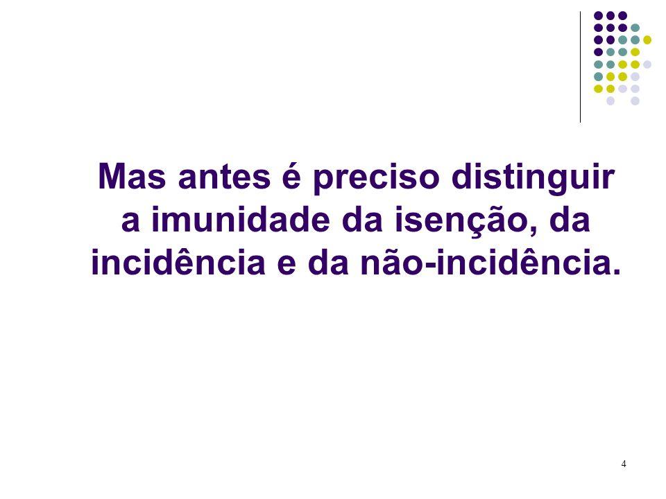 Mas antes é preciso distinguir a imunidade da isenção, da incidência e da não-incidência.