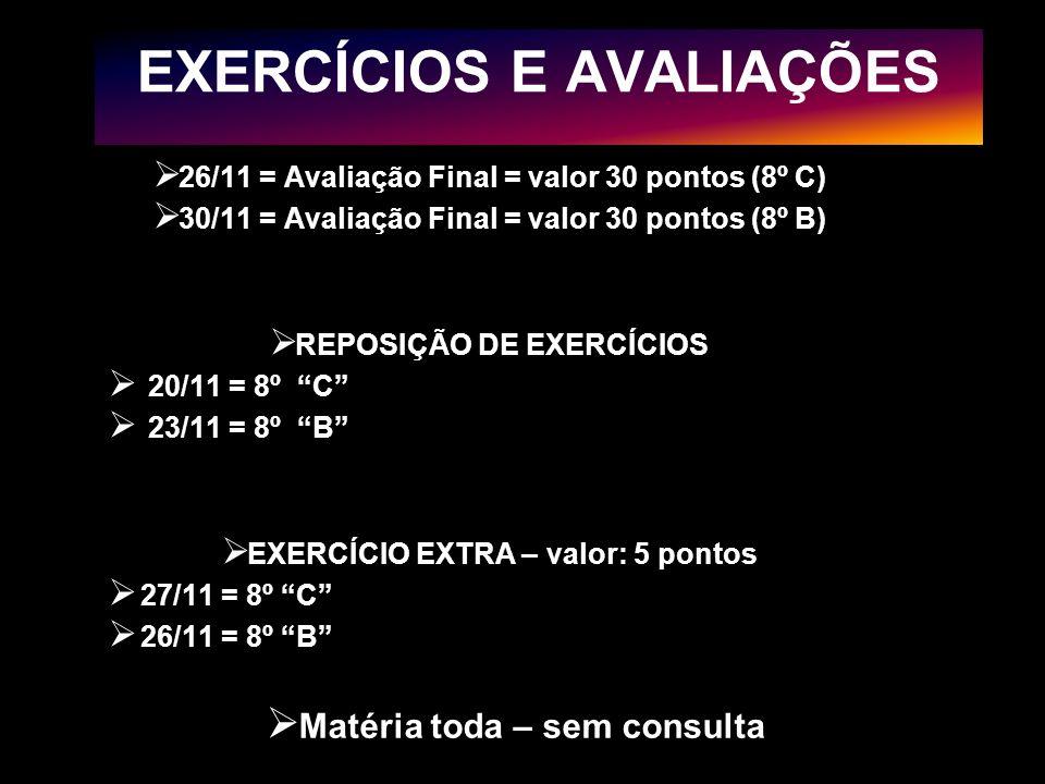 EXERCÍCIOS E AVALIAÇÕES