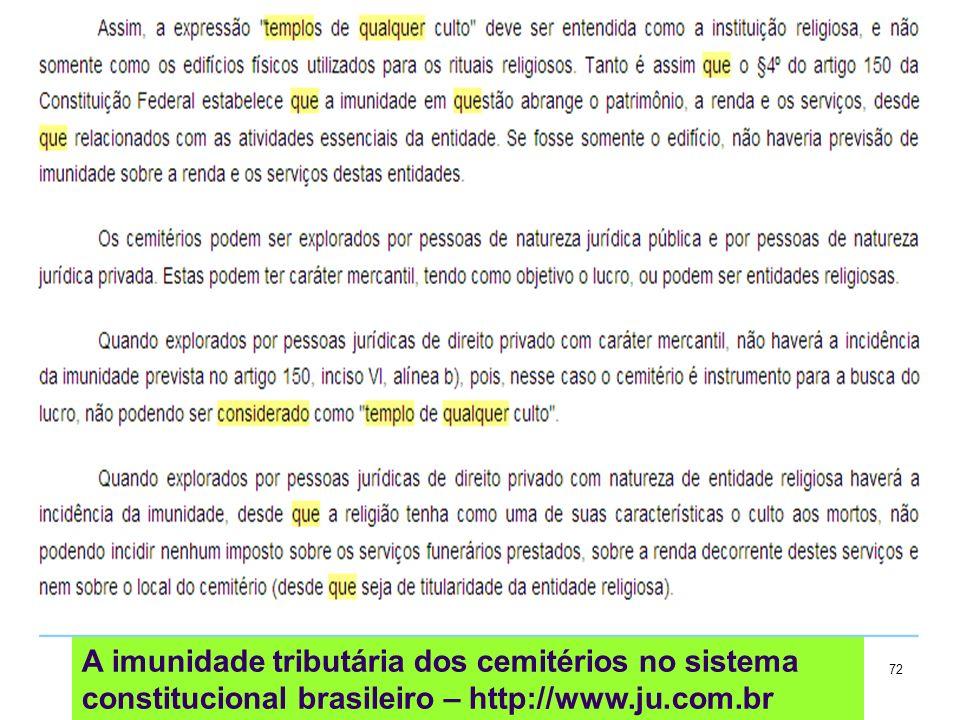 A imunidade tributária dos cemitérios no sistema constitucional brasileiro – http://www.ju.com.br