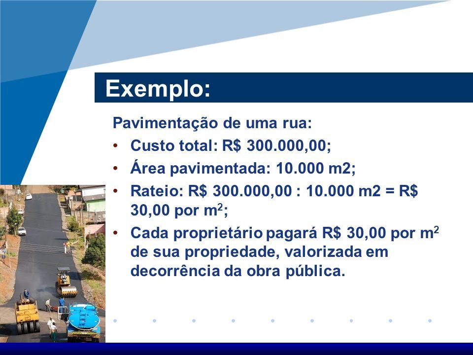 Exemplo: Pavimentação de uma rua: Custo total: R$ 300.000,00;