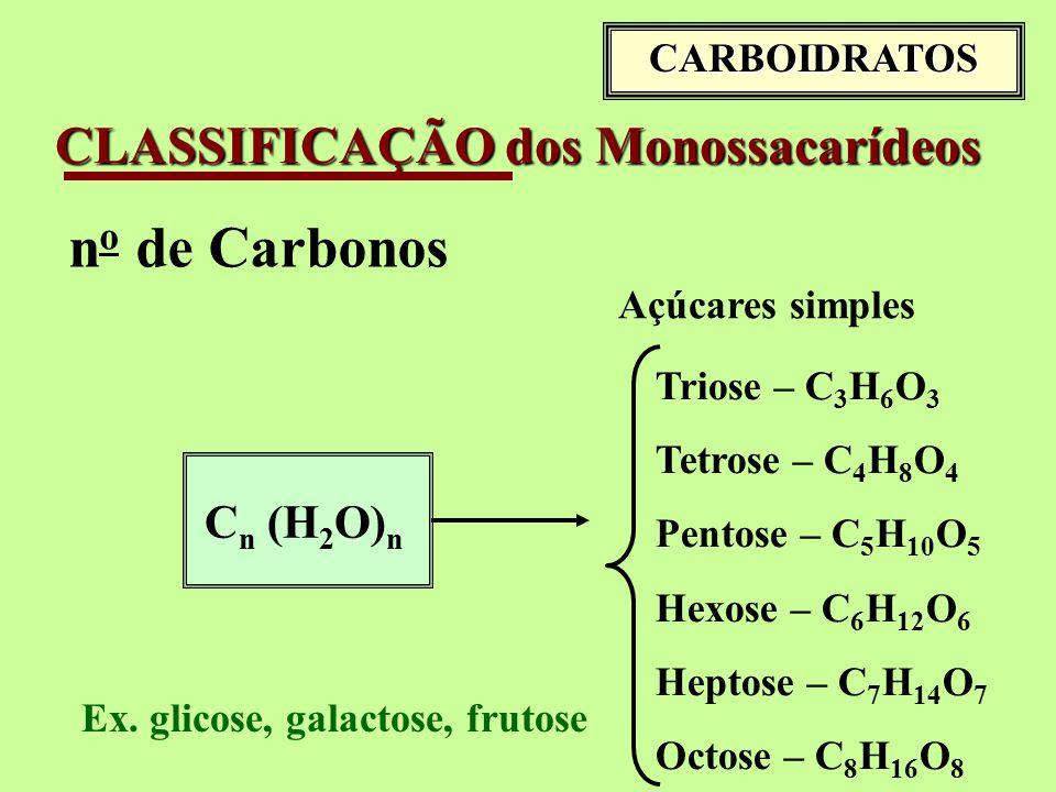 CLASSIFICAÇÃO dos Monossacarídeos