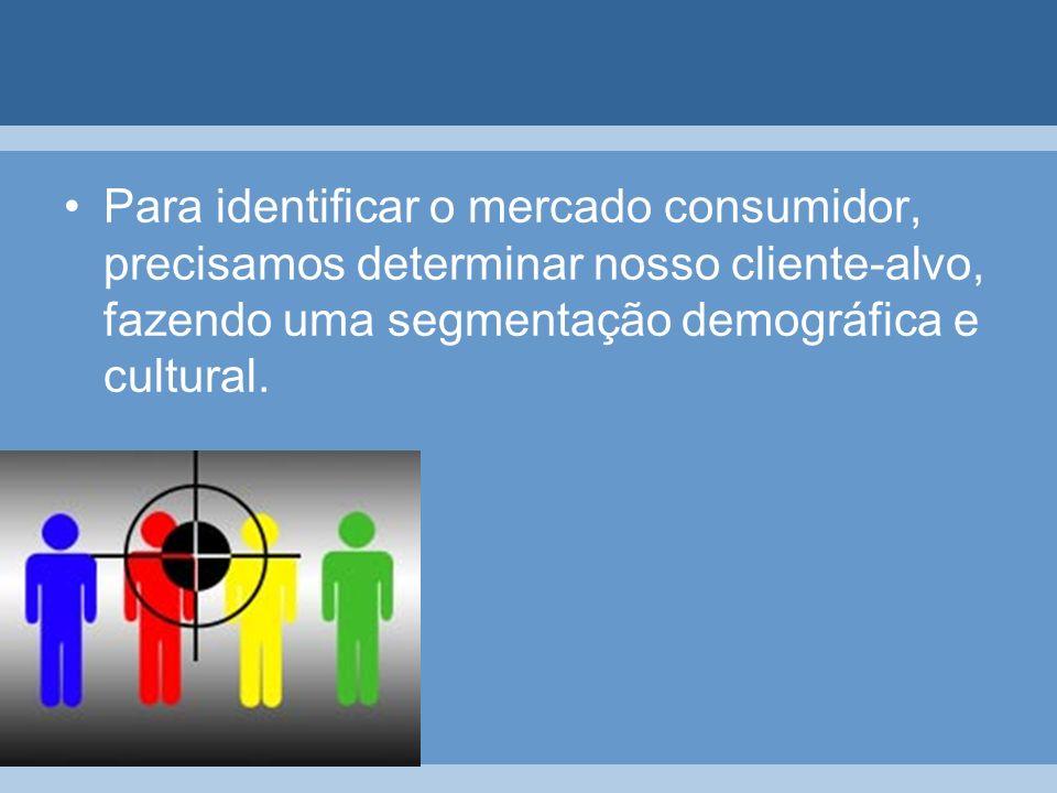 Para identificar o mercado consumidor, precisamos determinar nosso cliente-alvo, fazendo uma segmentação demográfica e cultural.
