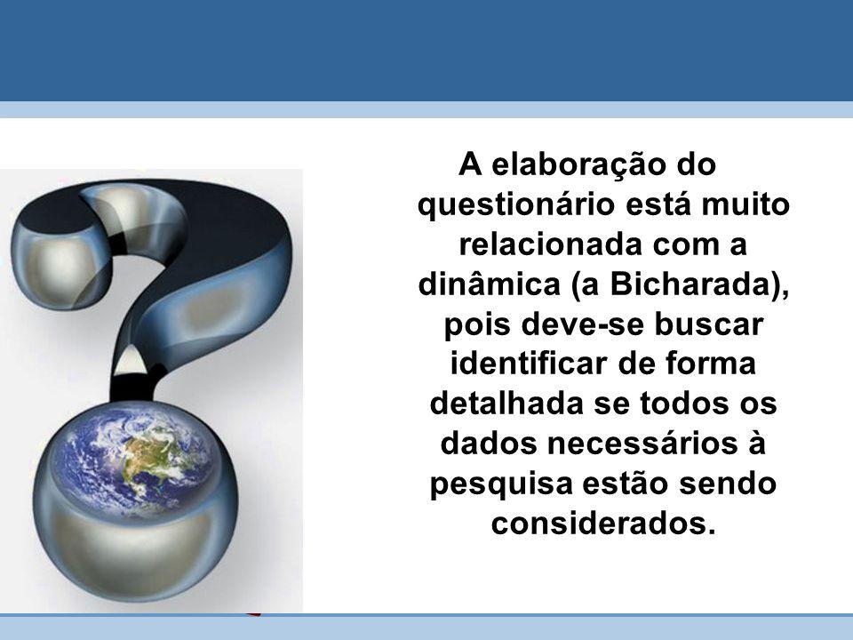 A elaboração do questionário está muito relacionada com a dinâmica (a Bicharada), pois deve-se buscar identificar de forma detalhada se todos os dados necessários à pesquisa estão sendo considerados.