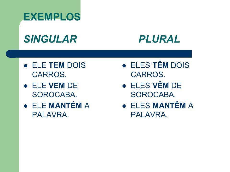 EXEMPLOS SINGULAR PLURAL