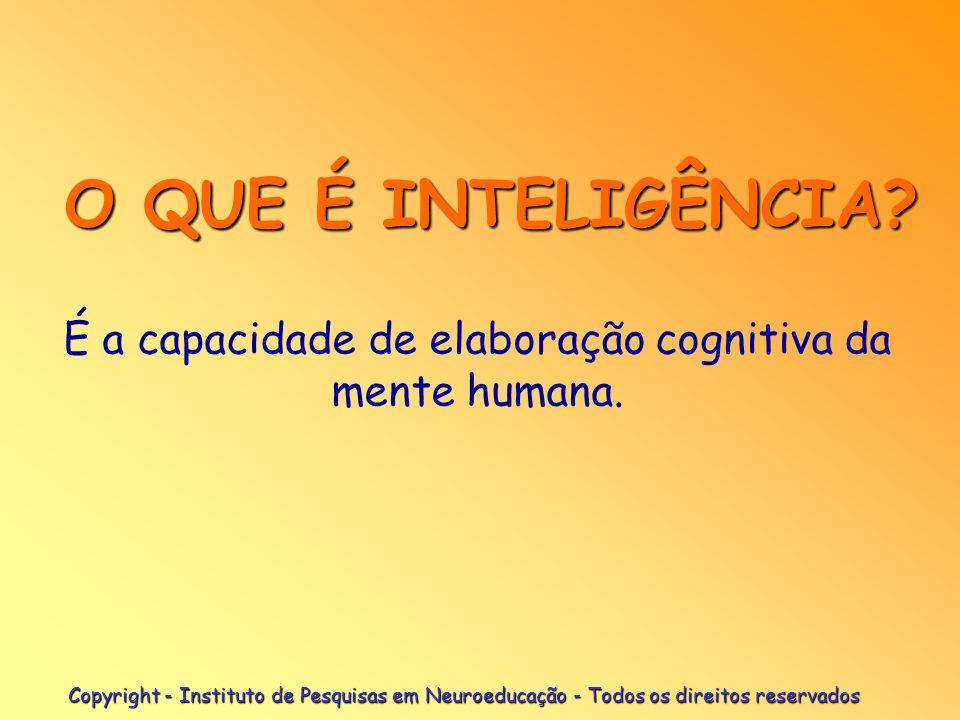 É a capacidade de elaboração cognitiva da mente humana.