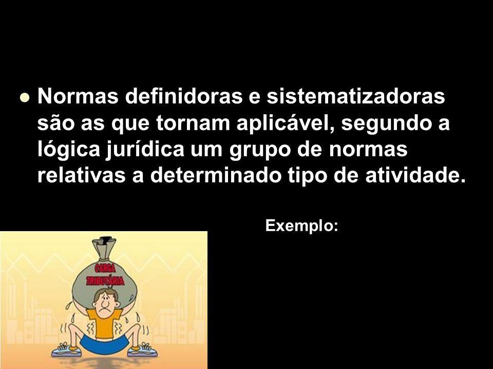 Normas definidoras e sistematizadoras são as que tornam aplicável, segundo a lógica jurídica um grupo de normas relativas a determinado tipo de atividade.