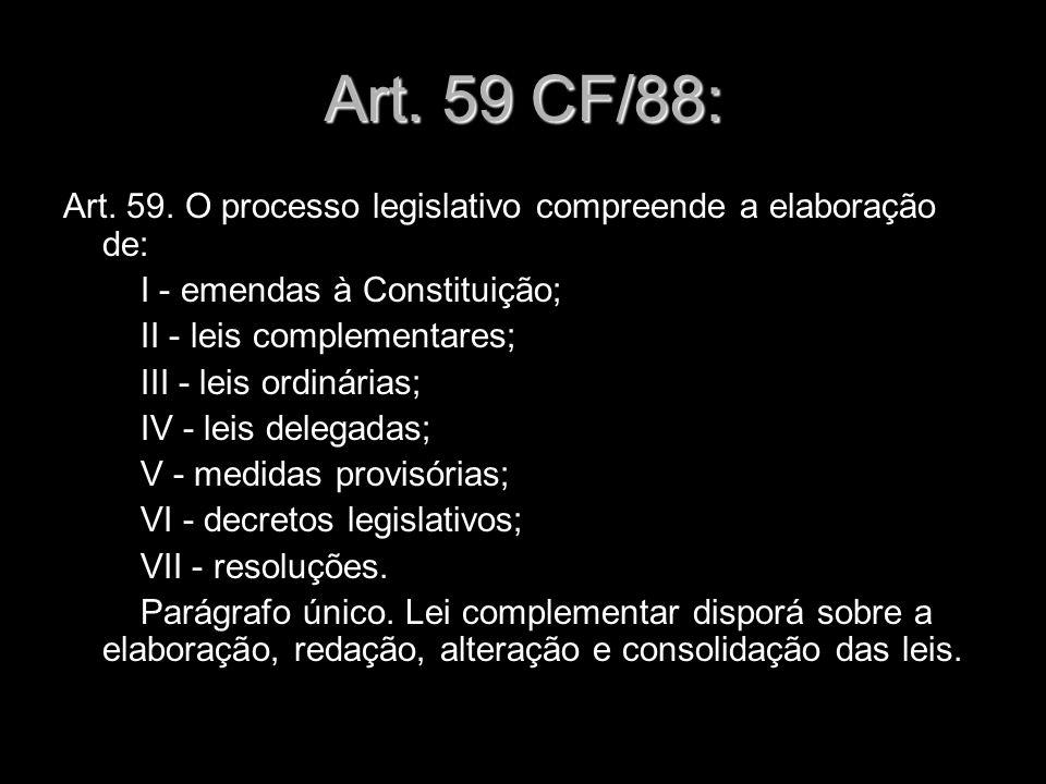 Art. 59 CF/88: Art. 59. O processo legislativo compreende a elaboração de: I - emendas à Constituição;