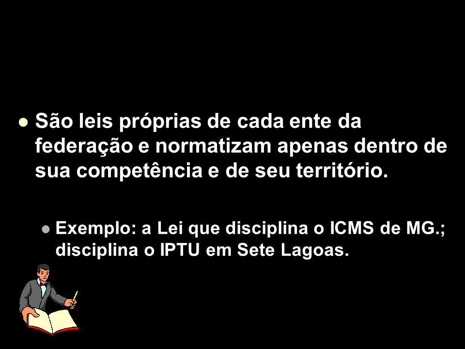 São leis próprias de cada ente da federação e normatizam apenas dentro de sua competência e de seu território.