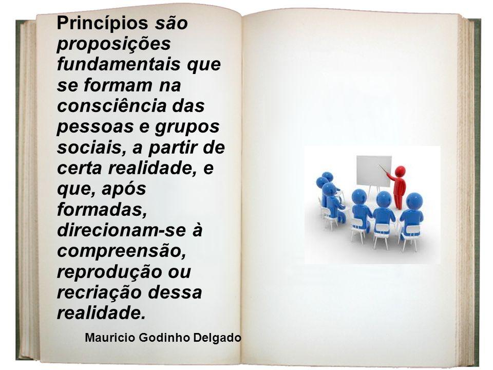 Princípios são proposições fundamentais que se formam na consciência das pessoas e grupos sociais, a partir de certa realidade, e que, após formadas, direcionam-se à compreensão, reprodução ou recriação dessa realidade.