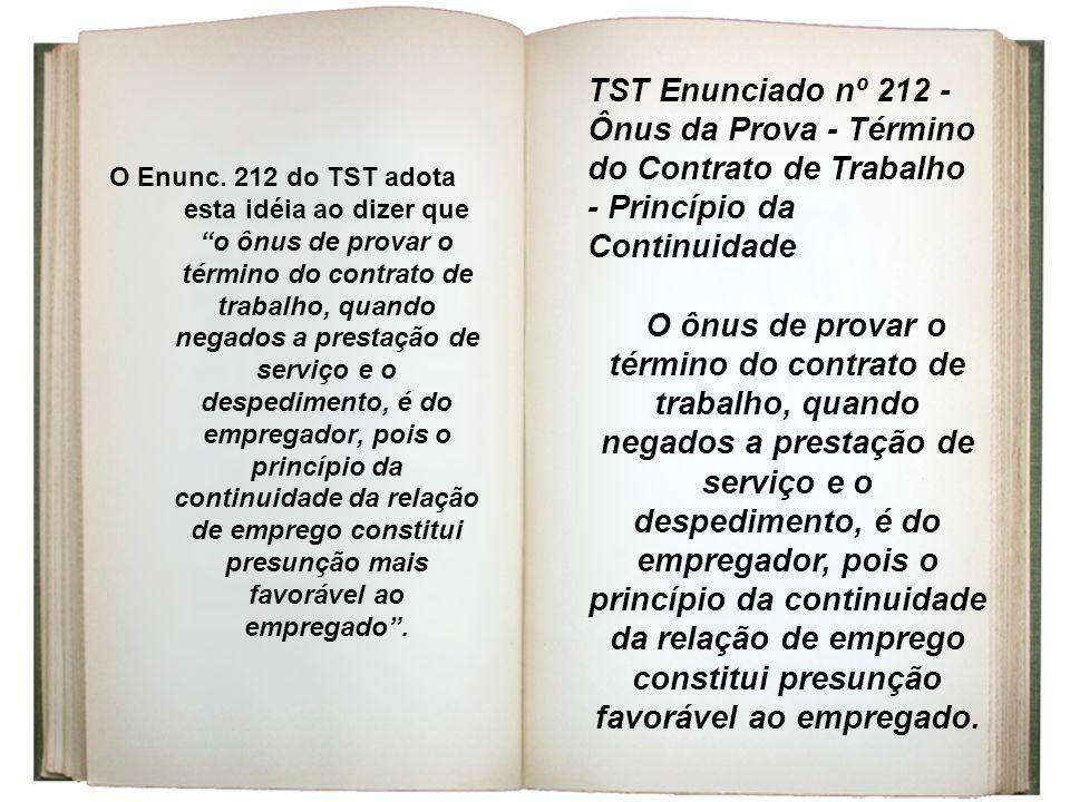 TST Enunciado nº 212 - Ônus da Prova - Término do Contrato de Trabalho - Princípio da Continuidade