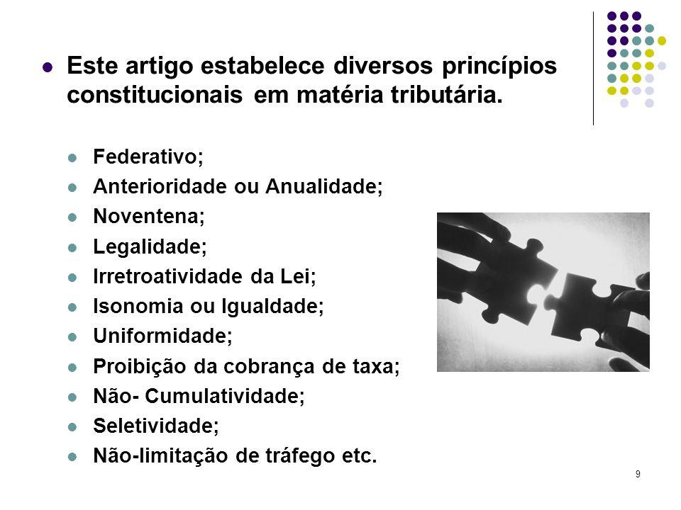 Este artigo estabelece diversos princípios constitucionais em matéria tributária.