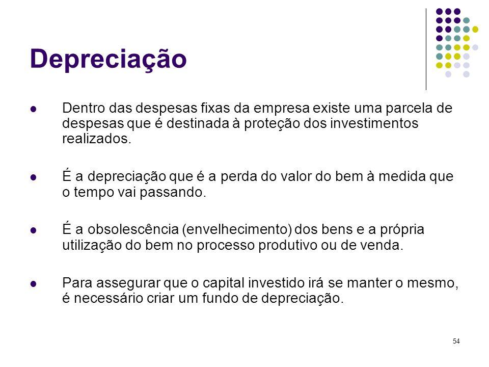 DepreciaçãoDentro das despesas fixas da empresa existe uma parcela de despesas que é destinada à proteção dos investimentos realizados.