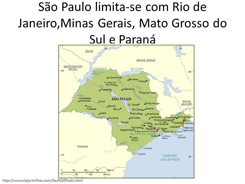 São Paulo limita-se com Rio de Janeiro,Minas Gerais, Mato Grosso do Sul e Paraná