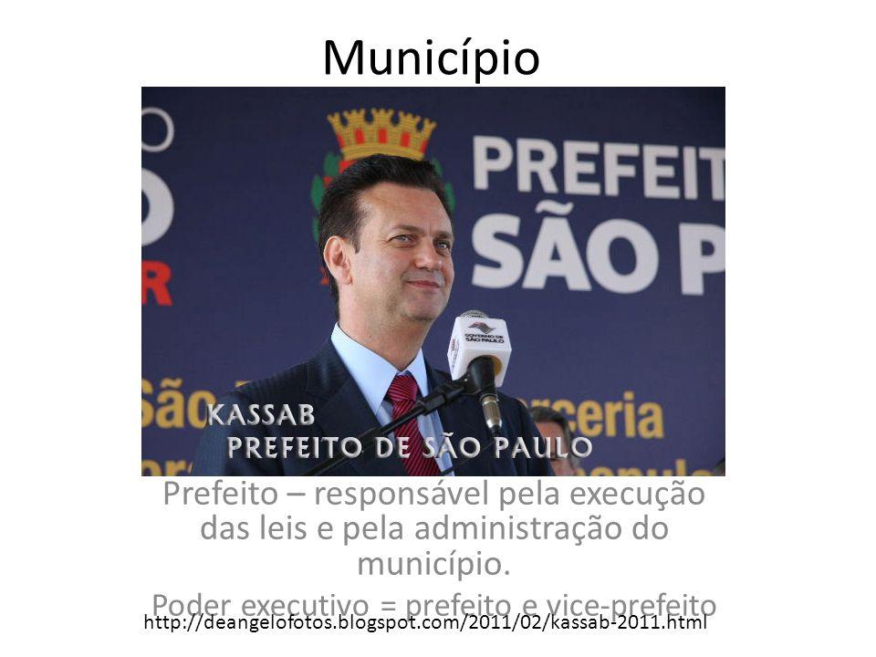 Poder executivo = prefeito e vice-prefeito