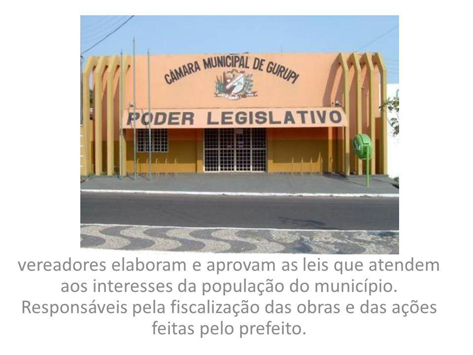 vereadores elaboram e aprovam as leis que atendem aos interesses da população do município.