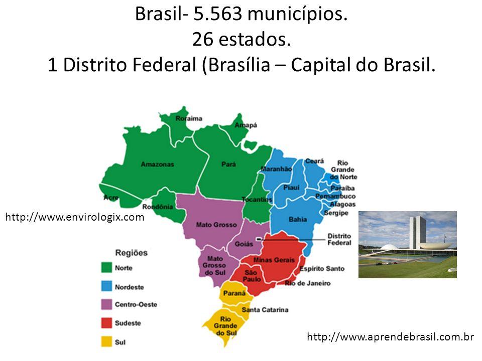 Brasil- 5. 563 municípios. 26 estados