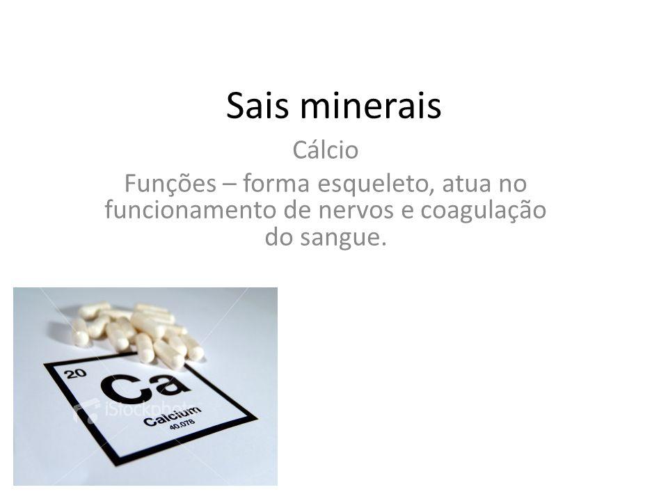 Sais minerais Cálcio.