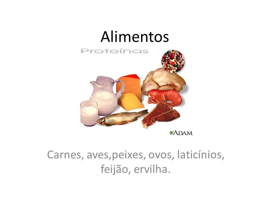 Carnes, aves,peixes, ovos, laticínios, feijão, ervilha.