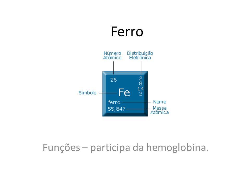 Funções – participa da hemoglobina.