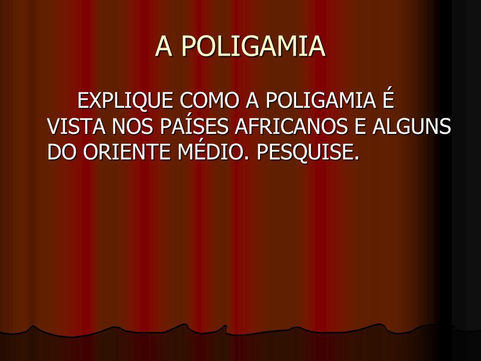 A POLIGAMIA EXPLIQUE COMO A POLIGAMIA É VISTA NOS PAÍSES AFRICANOS E ALGUNS DO ORIENTE MÉDIO.