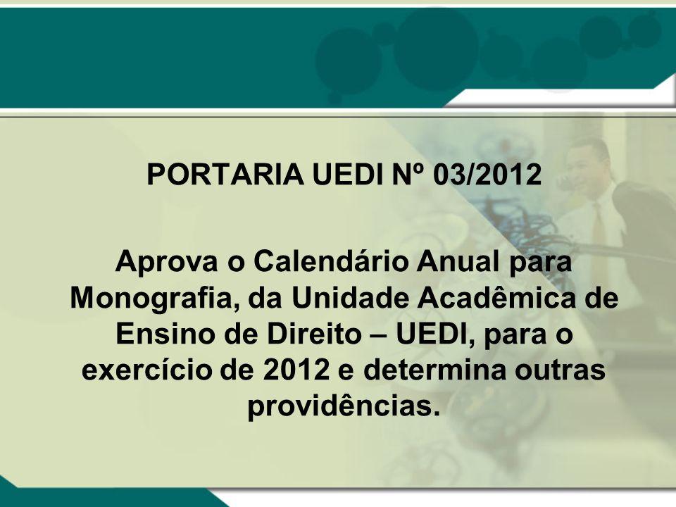 PORTARIA UEDI Nº 03/2012