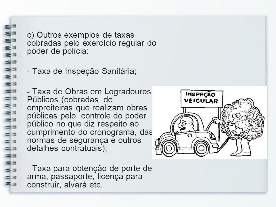 c) Outros exemplos de taxas cobradas pelo exercício regular do poder de polícia: