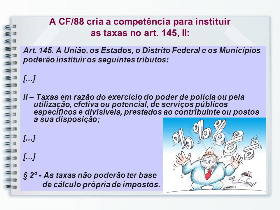 A CF/88 cria a competência para instituir as taxas no art. 145, II: