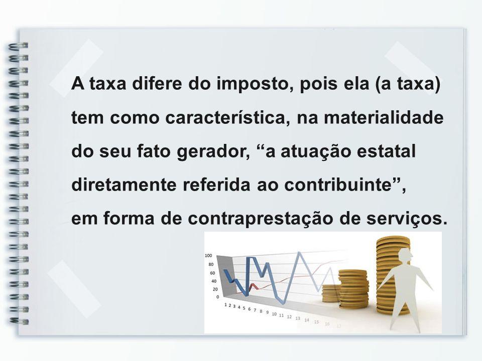 A taxa difere do imposto, pois ela (a taxa)