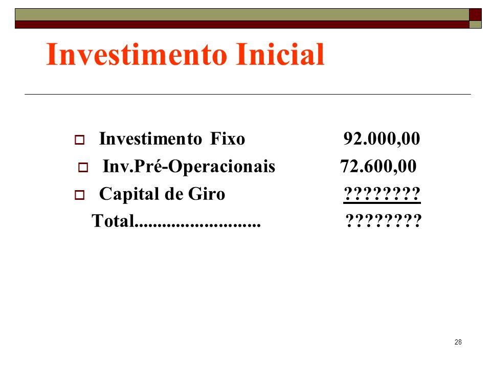 Investimento Inicial Investimento Fixo 92.000,00