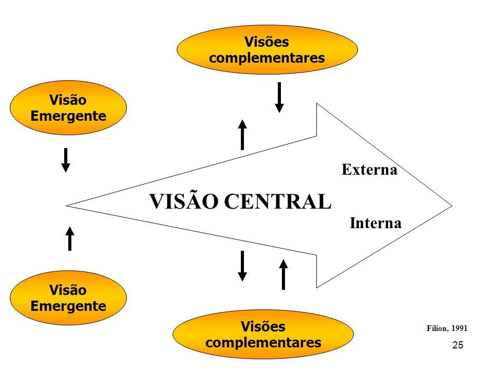 VISÃO CENTRAL Externa Interna Visões complementares Visão Emergente