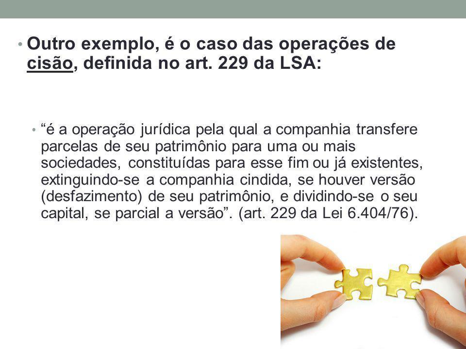 Outro exemplo, é o caso das operações de cisão, definida no art