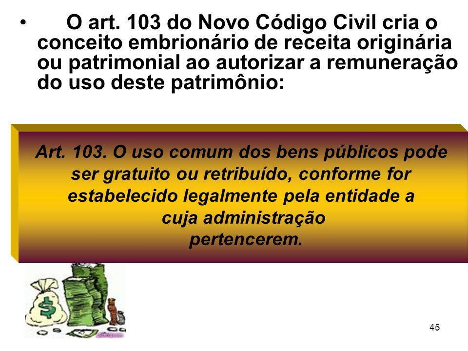 O art. 103 do Novo Código Civil cria o conceito embrionário de receita originária ou patrimonial ao autorizar a remuneração do uso deste patrimônio: