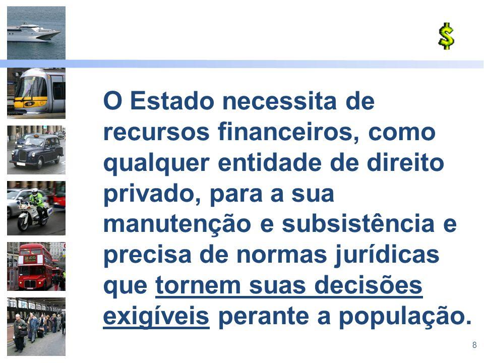 O Estado necessita de recursos financeiros, como qualquer entidade de direito privado, para a sua manutenção e subsistência e precisa de normas jurídicas que tornem suas decisões exigíveis perante a população.