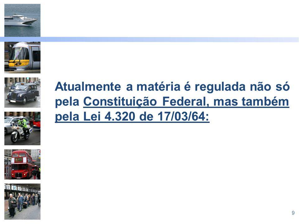 Atualmente a matéria é regulada não só pela Constituição Federal, mas também pela Lei 4.320 de 17/03/64: