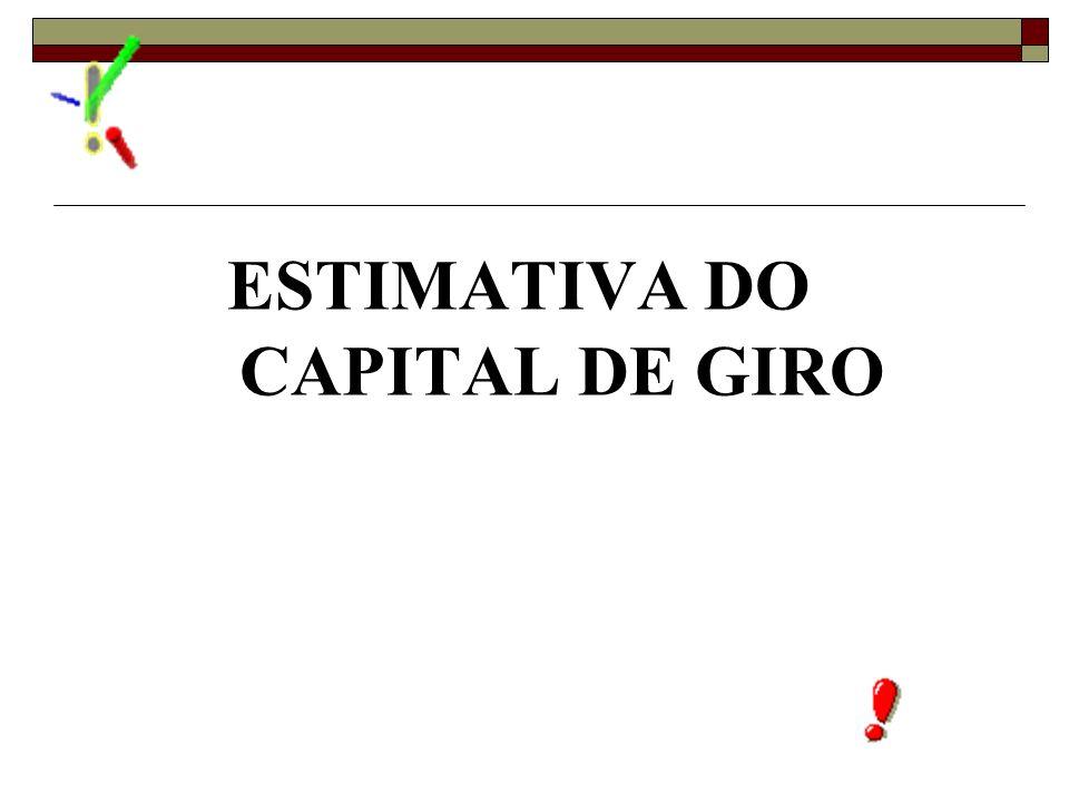 ESTIMATIVA DO CAPITAL DE GIRO
