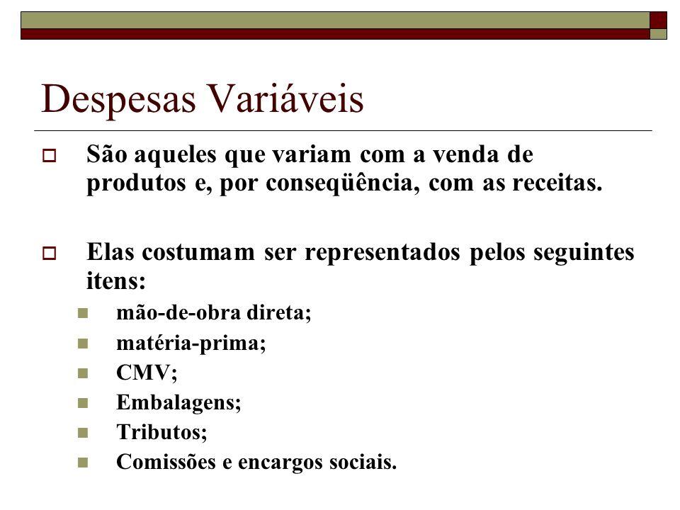 Despesas VariáveisSão aqueles que variam com a venda de produtos e, por conseqüência, com as receitas.