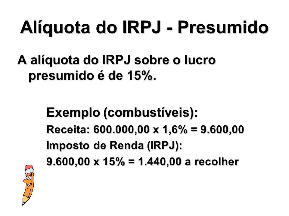 Alíquota do IRPJ - Presumido