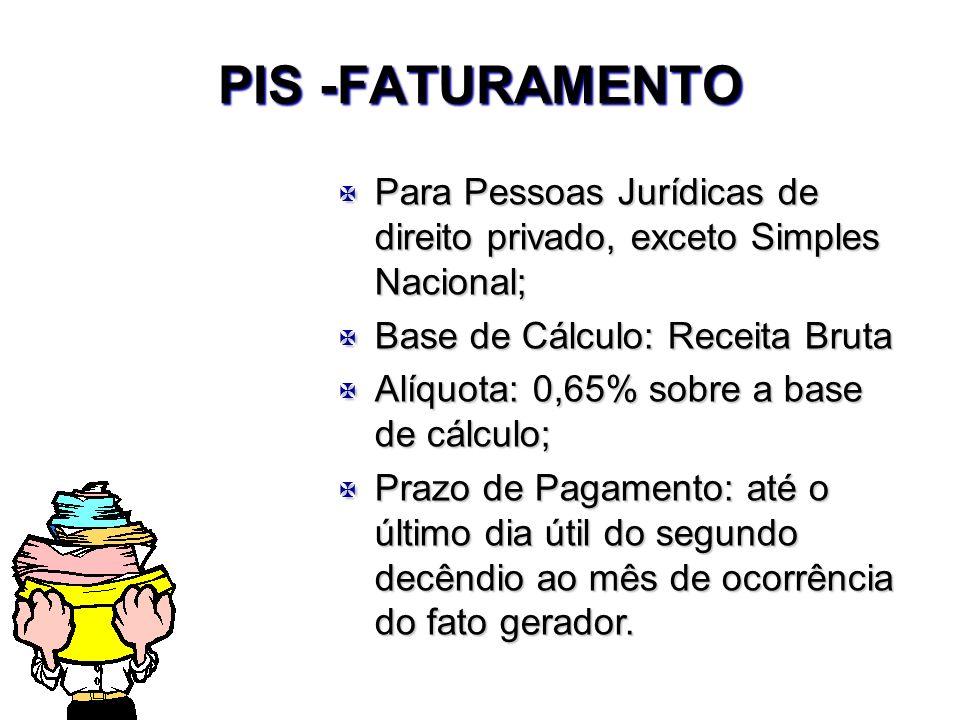 PIS -FATURAMENTOPara Pessoas Jurídicas de direito privado, exceto Simples Nacional; Base de Cálculo: Receita Bruta.
