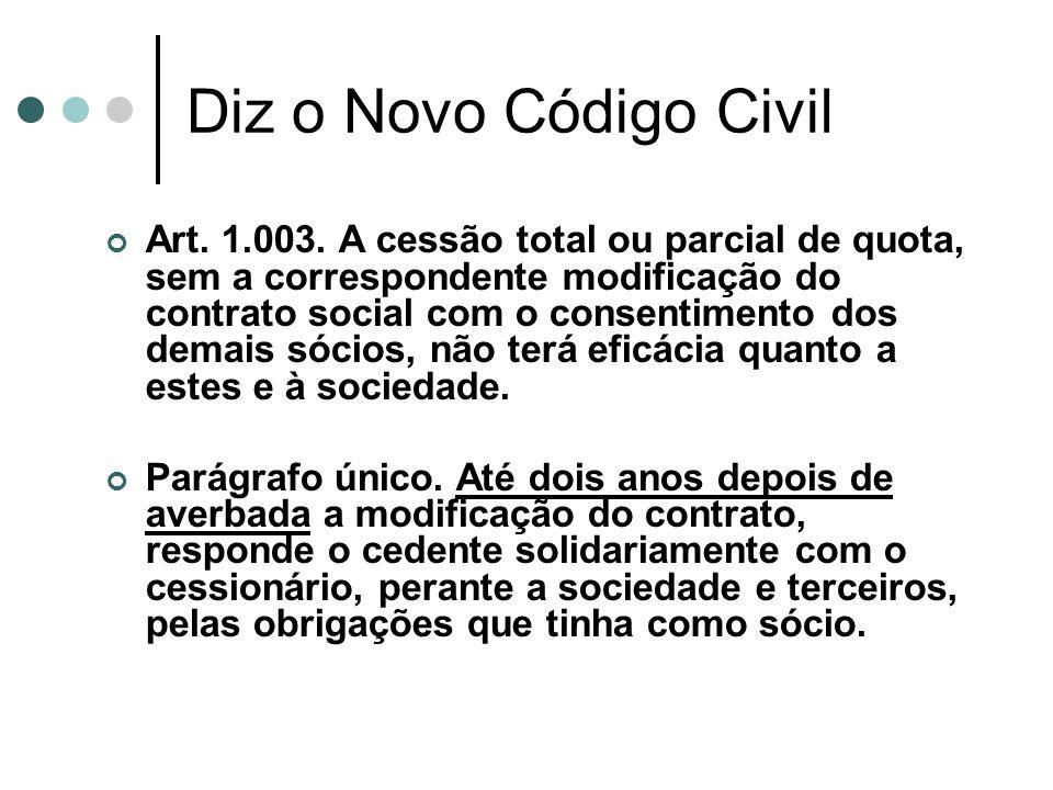 Diz o Novo Código Civil