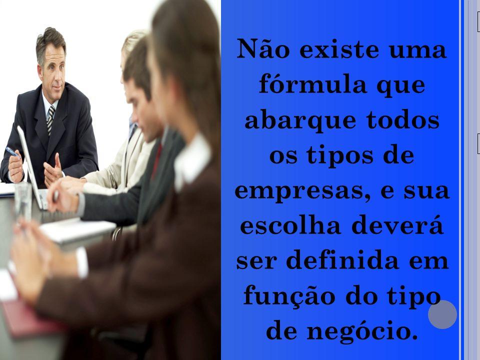 20/05/09 Não existe uma fórmula que abarque todos os tipos de empresas, e sua escolha deverá ser definida em função do tipo de negócio.