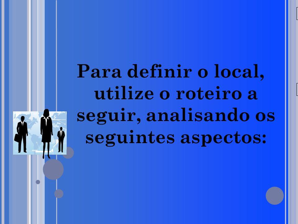 20/05/09 Para definir o local, utilize o roteiro a seguir, analisando os seguintes aspectos: