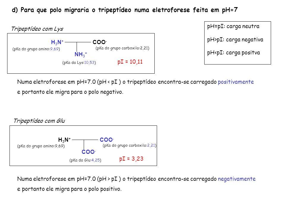 d) Para que polo migraria o tripeptídeo numa eletroforese feita em pH=7