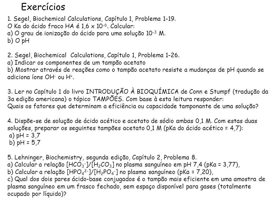 Exercícios1. Segel, Biochemical Calculations, Capítulo 1, Problema 1-19. O Ka do ácido fraco HA é 1,6 x 10-6. Calcular: